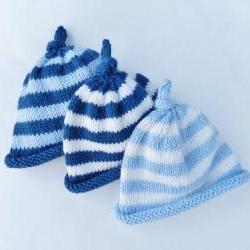 Knit baby hat - Newborn baby stripped hat - Navy blu - Light blue - White - Baby beanie hat - Knot on the top - Photo prop