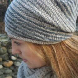 Knit hat - Slouchy knit hat - Slouchy beanie- Knitted Beanie hat - Slouch hat - Stripped knit hat - Beige- Tan -Ecru -Grey -Gray