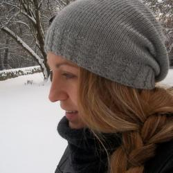 Knit hat - Slouchy hat- Grey - Slouchy beanie -Knit hat for women-Teens- Girls - Slouch hat - Cabled hat